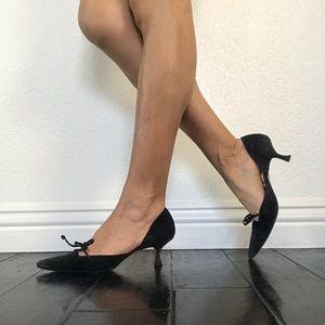 Manolo Blahnik Black Suede 37 Kitten Heel